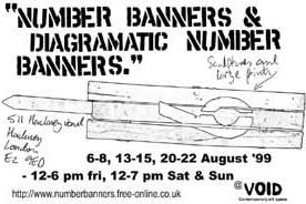 Postcard advertisement from the Number banners and dia' banners exhibition at the Void gallery.