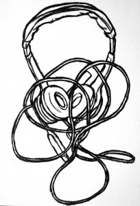 Drawing of a computer headset in black oil pastel.