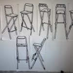 Drawings of a tall folding stool