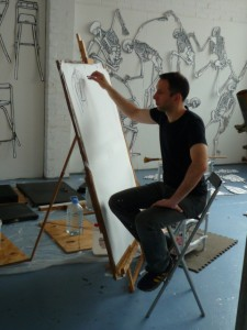 Me drawing in my studio