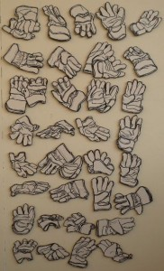 Drawings of work gloves