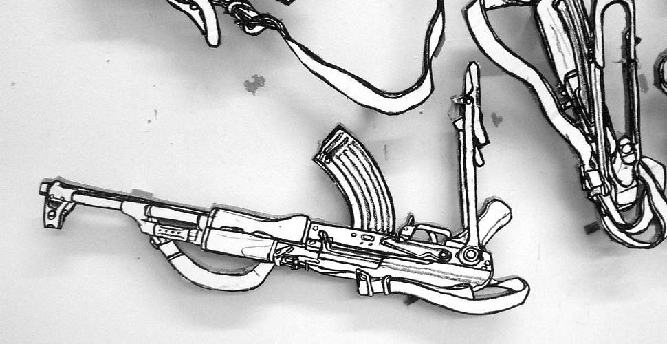 Black and White Kalashnikov drawings