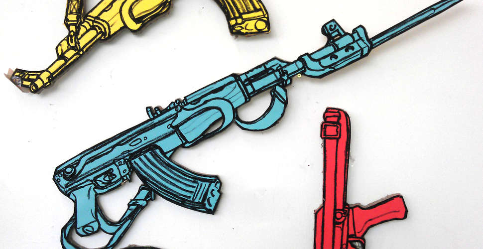Coloured AK47 Kalashnikovs drawings