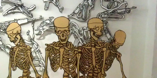 Yellow Skeleton & Kalashnikov drawings