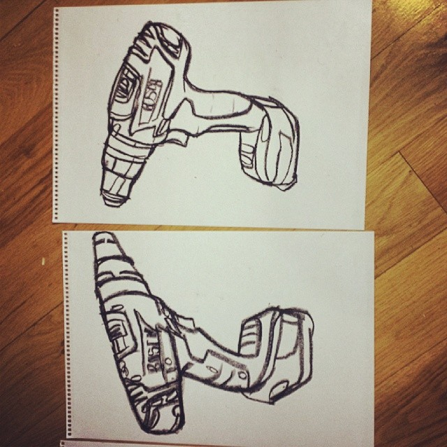 Drawings of Drills, gloves and Skulls