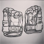 A pair of ice hockey gloves. Oil pastel on paper.  #drawing  #art  #artist #draw