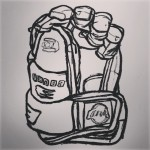 Left-hand ice hockey glove. Oil pastel on paper. #draw #drawing #art #artist