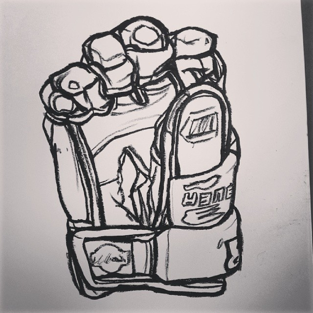 Drawing of an Ice Hockey glove.
