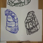 Finnish hockey glove. Blue and black. Oil pastel on paper. #draw #drawings #drawing #art #artist