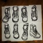 Sketches of army boots. Oil pastel on paper. #drawings #sketch #art #artist #picoftheday #pictures #draw #boot #boots