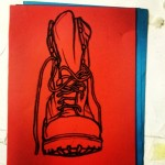 Red army boot.  Oil pastel in red paper. #art #illustration #drawing #draw #picture #artist #sketch #sketchbook #paper #pen #pencil #artsy #instaart #beautiful #instagood #gallery #masterpiece #creative #photooftheday #instaartist #graphic #graphics #artoftheday