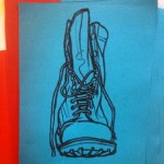 Army boot.  Oil pastel on blue paper. #art #illustration #drawing #draw #picture #artist #sketch #sketchbook #paper #pen #pencil #artsy #instaart #beautiful #instagood #gallery #masterpiece #creative #photooftheday #instaartist #graphic #graphics #artoftheday