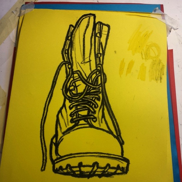 Stomp. Army boot. Oil pastel on yellow paper.#art #illustration #drawing #draw #artist #picture #artist #sketch #sketchbook #paper #pen #pencil #artsy #instaart #beautiful #instagood #gallery #masterpiece #creative #photooftheday #instaartist #graphic #graphics #artoftheday
