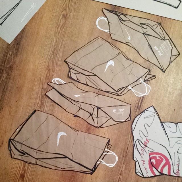 Super Nike brown paper bag. Work in progress. Oil pastel on brown paper  HK46