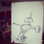 Another kids tricycle.  Oil pastel on paper. Work in progress for exhibition at LA  ULTIMA CENA on Urbanstrasse. 25th July.  #art #illustration #drawing #draw #picture #artist #sketch #sketchbook #paper #pen #pencil #artsy #instaart #beautiful #gallery #masterpiece #creative #photooftheday #instaartist #graphic #graphics #artoftheday #berlin #exhibition