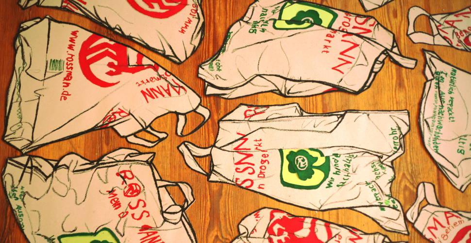 Drawings of a Rossman plastic bag