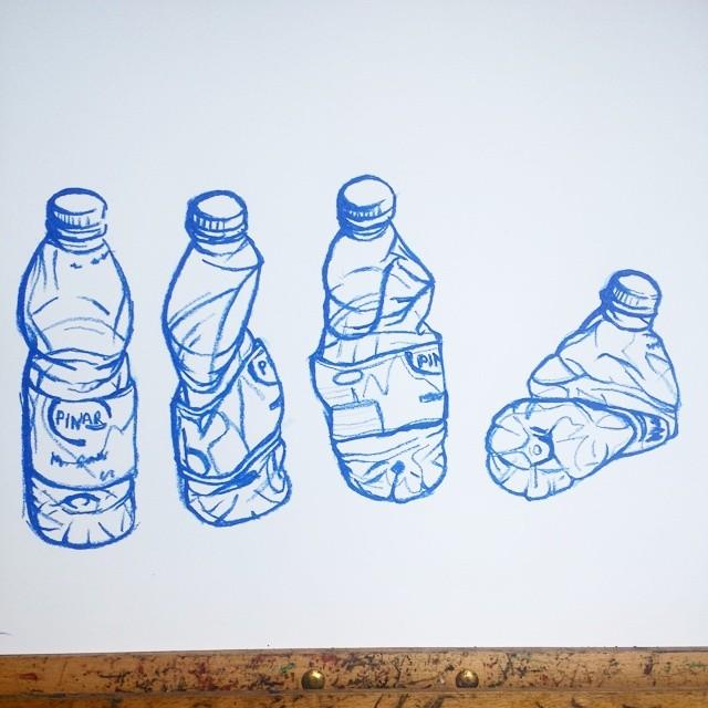 Water bottle drawing  Oil pastel on paper  #art #illustration