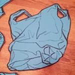 Blue plastic bag.