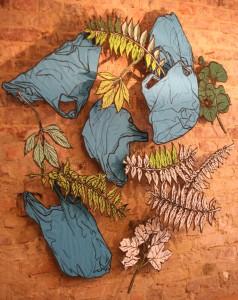 Leaf and plastic bag drawings.