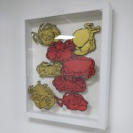 Edible crab drawings at Greenhouse gallery.