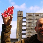 Outside Balfron Tower with object red and white drawing  #228, Ginger.