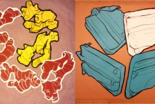 Drawings of Ginger and a Computer bag.