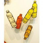 Drawings of a plastic water bottle.