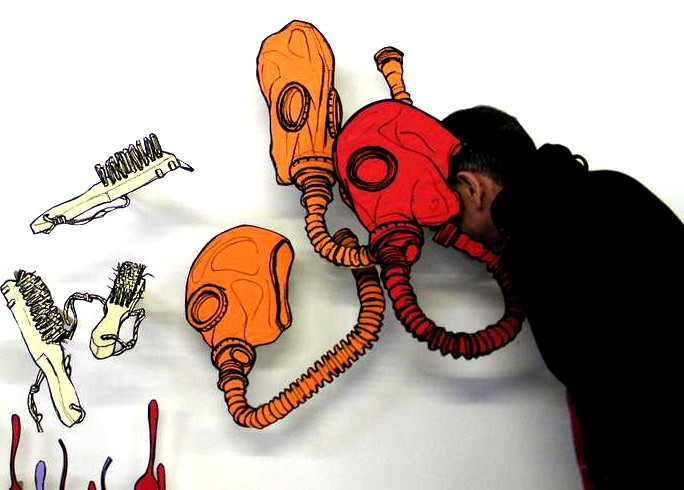 Jesús Andrés with gas mask drawings