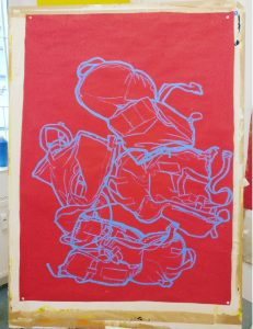 Drawing of a children's life jacket. Oil pastel on paper.